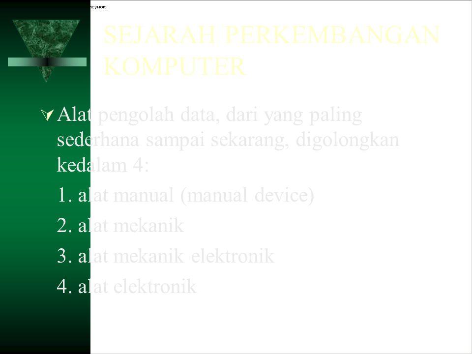  Alat pengolah data, dari yang paling sederhana sampai sekarang, digolongkan kedalam 4: 1. alat manual (manual device) 2. alat mekanik 3. alat mekani