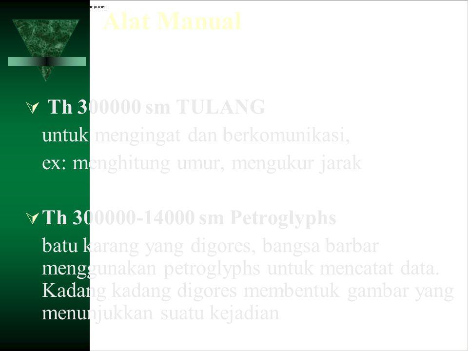 Alat Manual  Th 300000 sm TULANG untuk mengingat dan berkomunikasi, ex: menghitung umur, mengukur jarak  Th 300000-14000 sm Petroglyphs batu karang