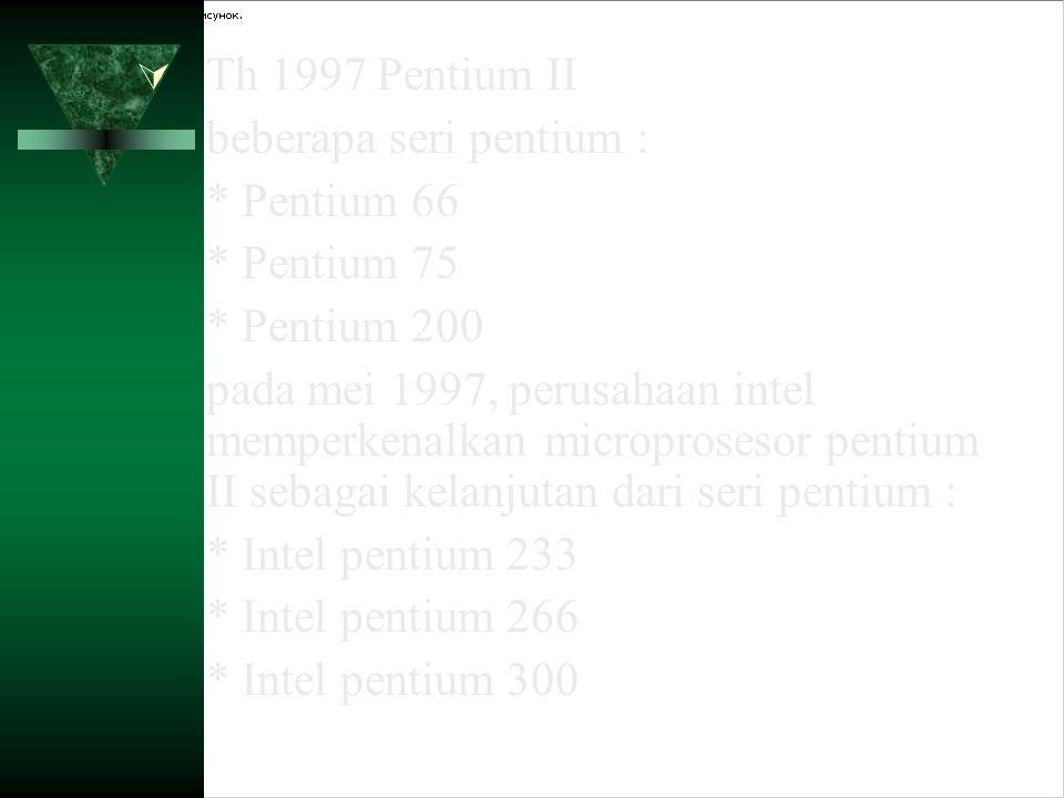  Th 1997 Pentium II beberapa seri pentium : * Pentium 66 * Pentium 75 * Pentium 200 pada mei 1997, perusahaan intel memperkenalkan microprosesor pent