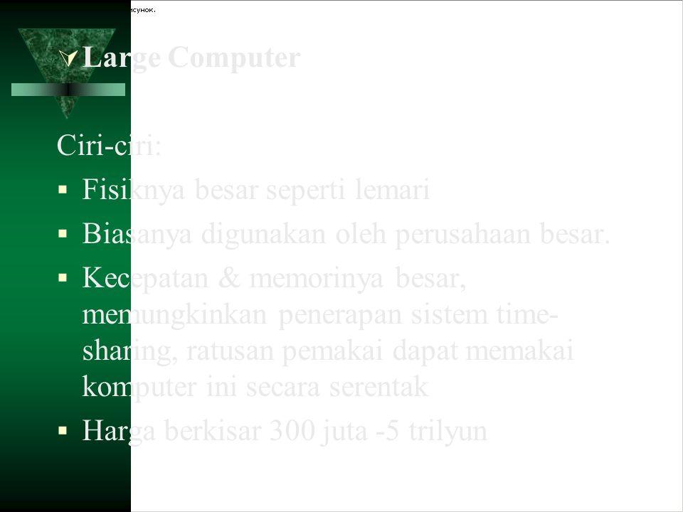  Large Computer Ciri-ciri:  Fisiknya besar seperti lemari  Biasanya digunakan oleh perusahaan besar.  Kecepatan & memorinya besar, memungkinkan pe
