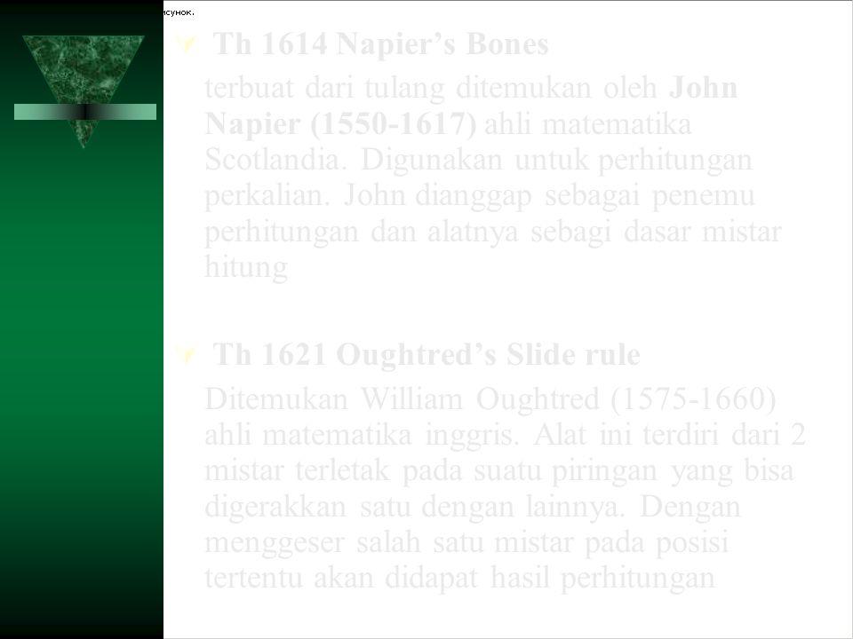 ALAT MEKANIK  Th 1623 Mesin Penghitung Yang pertama  Th 1642 Mesin penghitung otomatis yang pertama  Th 1666 Mesin pengali yang pertama  Th 1673 Leibnitz's Calculating Machine  Th 1777 Mesin Logika Yang Pertama  Th 1804 Mesin Kartu Yang Pertama  Th 1820 Mesin penghitung komersial pertama yang sukses  Th 1822 Babbage's Difference Engine