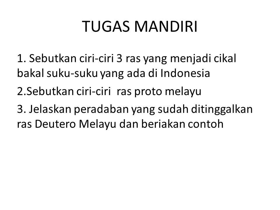 TUGAS MANDIRI 1. Sebutkan ciri-ciri 3 ras yang menjadi cikal bakal suku-suku yang ada di Indonesia 2.Sebutkan ciri-ciri ras proto melayu 3. Jelaskan p