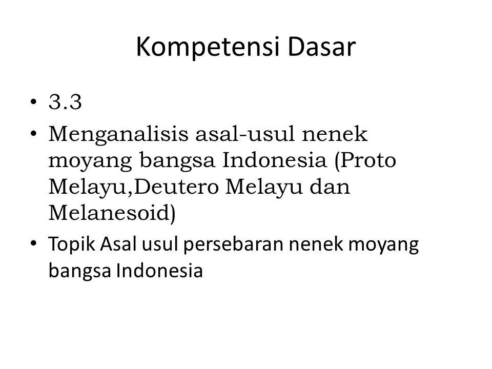 Kompetensi Dasar 3.3 Menganalisis asal-usul nenek moyang bangsa Indonesia (Proto Melayu,Deutero Melayu dan Melanesoid) Topik Asal usul persebaran nene