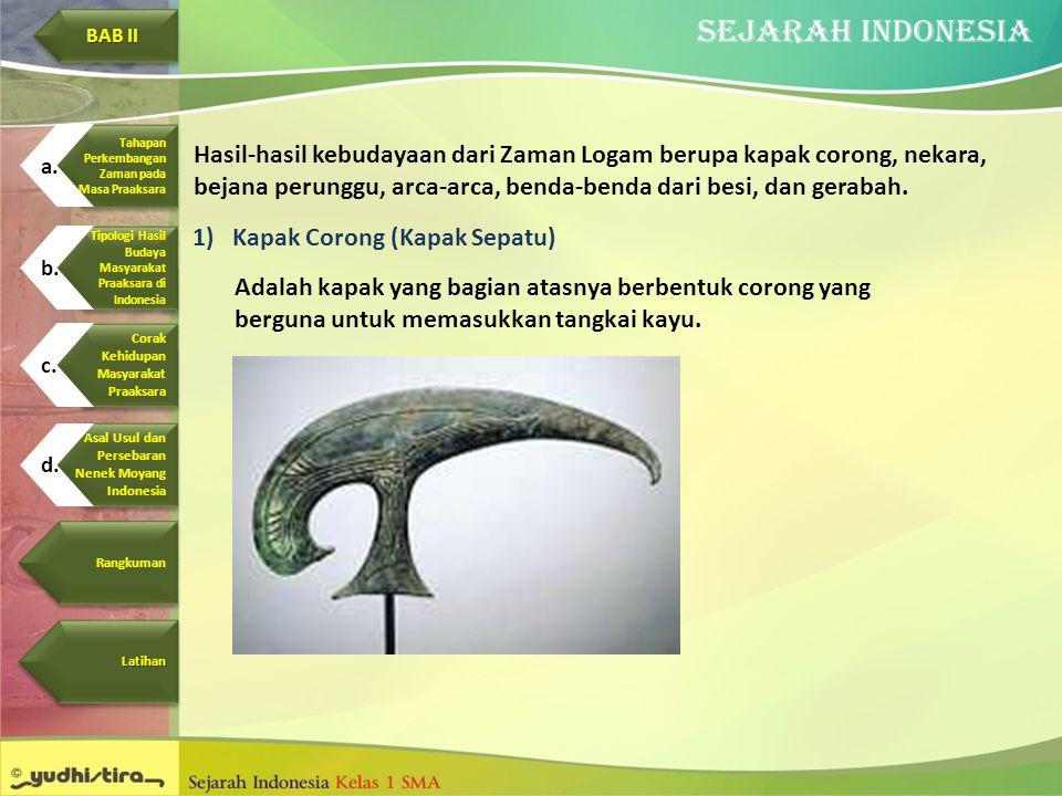 Hasil-hasil kebudayaan dari Zaman Logam berupa kapak corong, nekara, bejana perunggu, arca-arca, benda-benda dari besi, dan gerabah. 1)Kapak Corong (K