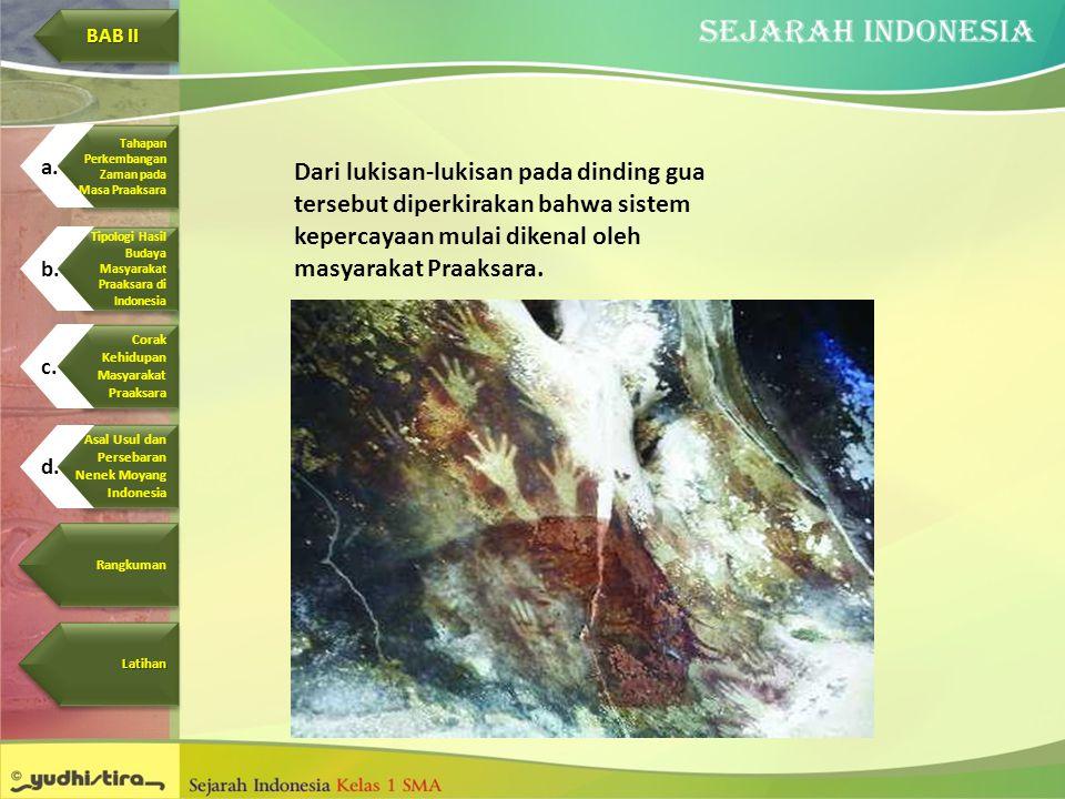 Dari lukisan-lukisan pada dinding gua tersebut diperkirakan bahwa sistem kepercayaan mulai dikenal oleh masyarakat Praaksara. Corak Kehidupan Masyarak