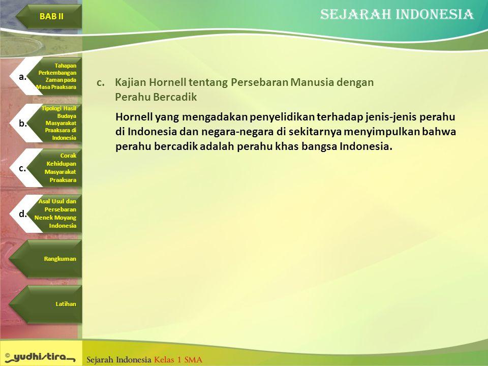 c.Kajian Hornell tentang Persebaran Manusia dengan Perahu Bercadik Hornell yang mengadakan penyelidikan terhadap jenis-jenis perahu di Indonesia dan n