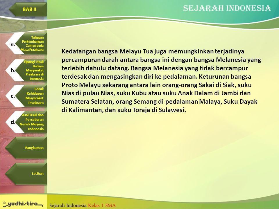 Kedatangan bangsa Melayu Tua juga memungkinkan terjadinya percampuran darah antara bangsa ini dengan bangsa Melanesia yang terlebih dahulu datang. Ban