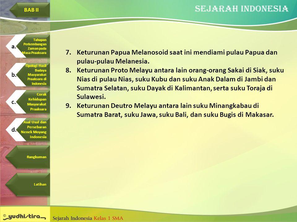 7.Keturunan Papua Melanosoid saat ini mendiami pulau Papua dan pulau-pulau Melanesia. 8.Keturunan Proto Melayu antara lain orang-orang Sakai di Siak,