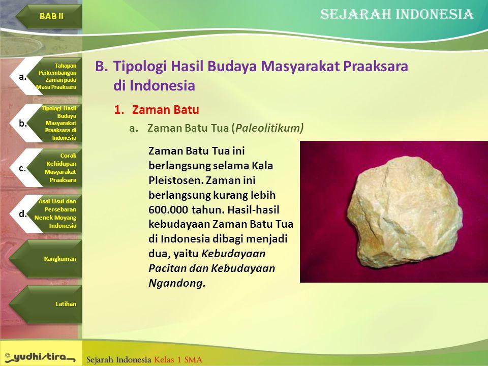 B.Tipologi Hasil Budaya Masyarakat Praaksara di Indonesia 1.Zaman Batu a.Zaman Batu Tua (Paleolitikum) Zaman Batu Tua ini berlangsung selama Kala Plei