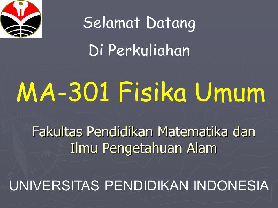 Fakultas Pendidikan Matematika dan Ilmu Pengetahuan Alam Selamat Datang Di Perkuliahan MA-301 Fisika Umum UNIVERSITAS PENDIDIKAN INDONESIA