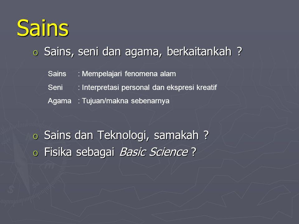 Sains Sains o Metode dan Sikap ilmiah Bedakan: Fakta/fenomena, hipotesis, hukum/prinsip, teori 1.Identifikasi permasalahan (biasanya berupa pertanyaan