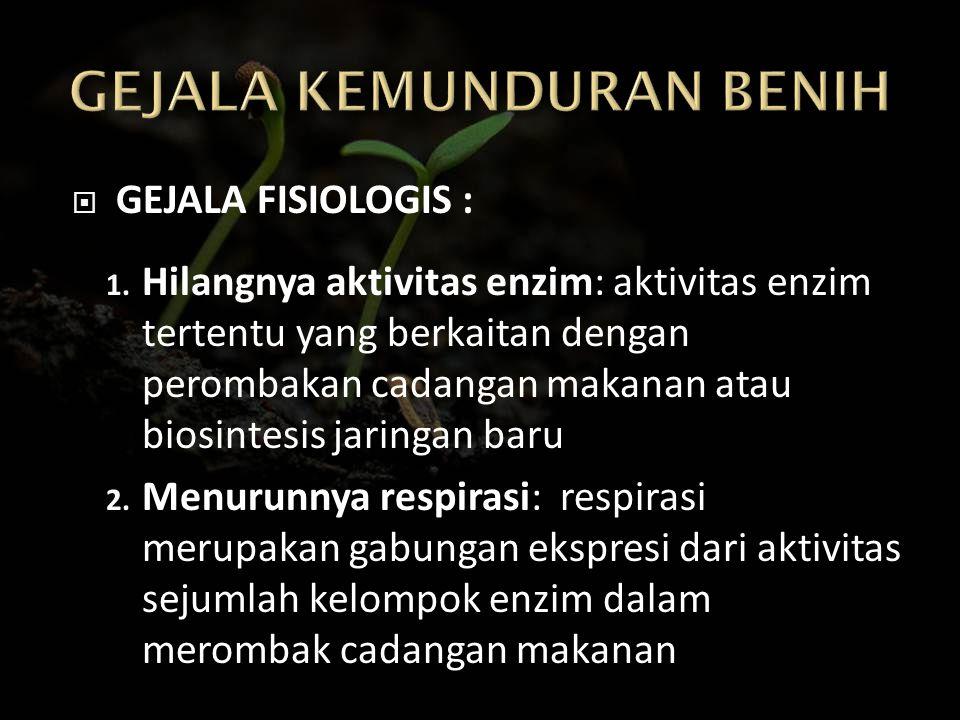  GEJALA FISIOLOGIS : 1. Hilangnya aktivitas enzim: aktivitas enzim tertentu yang berkaitan dengan perombakan cadangan makanan atau biosintesis jaring
