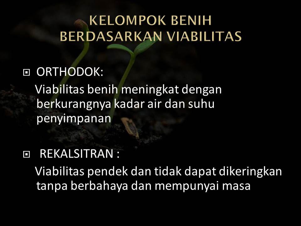  ORTHODOK: Viabilitas benih meningkat dengan berkurangnya kadar air dan suhu penyimpanan  REKALSITRAN : Viabilitas pendek dan tidak dapat dikeringka