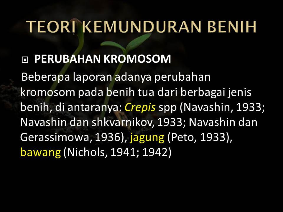  PERUBAHAN KROMOSOM Beberapa laporan adanya perubahan kromosom pada benih tua dari berbagai jenis benih, di antaranya: Crepis spp (Navashin, 1933; Na
