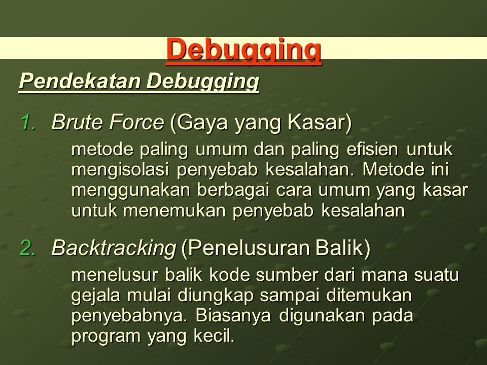 Debugging Pendekatan Debugging 1.Brute Force (Gaya yang Kasar) metode paling umum dan paling efisien untuk mengisolasi penyebab kesalahan.