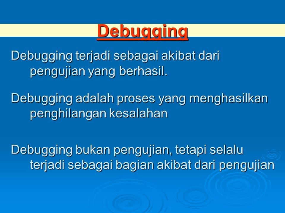 Debugging Debugging terjadi sebagai akibat dari pengujian yang berhasil. Debugging adalah proses yang menghasilkan penghilangan kesalahan Debugging bu