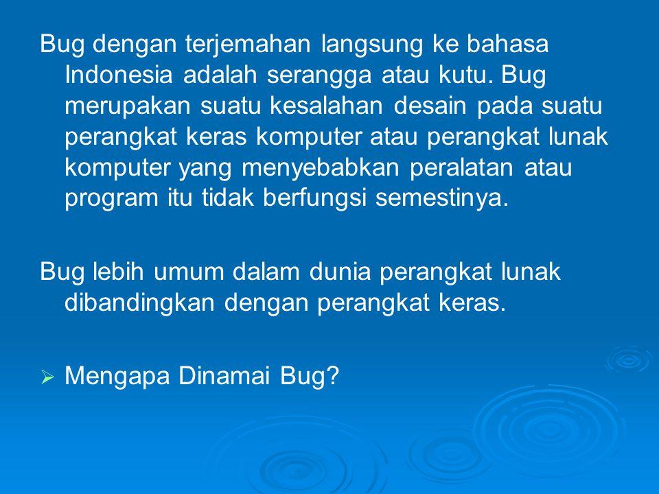 Bug dengan terjemahan langsung ke bahasa Indonesia adalah serangga atau kutu. Bug merupakan suatu kesalahan desain pada suatu perangkat keras komputer