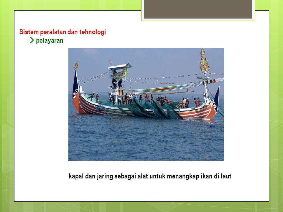 Sistem peralatan dan tehnologi  pelayaran kapal dan jaring sebagai alat untuk menangkap ikan di laut