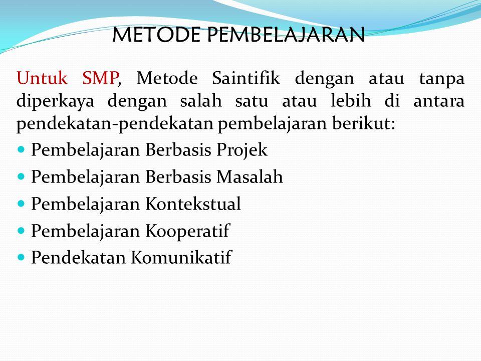 METODE PEMBELAJARAN Untuk SMP, Metode Saintifik dengan atau tanpa diperkaya dengan salah satu atau lebih di antara pendekatan-pendekatan pembelajaran