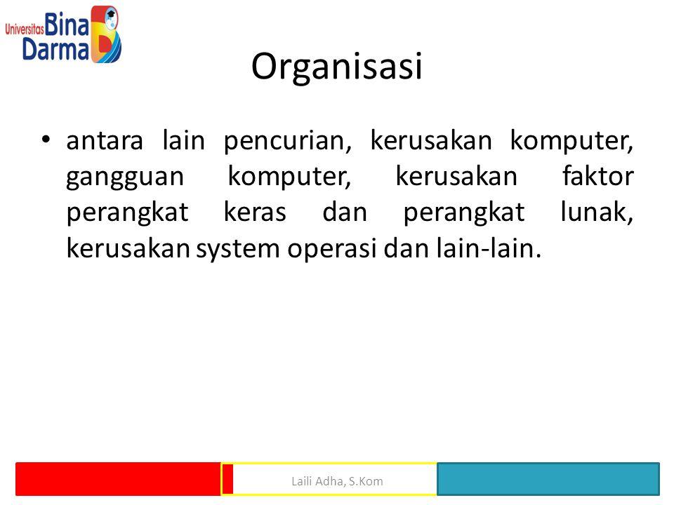 Organisasi antara lain pencurian, kerusakan komputer, gangguan komputer, kerusakan faktor perangkat keras dan perangkat lunak, kerusakan system operasi dan lain-lain.