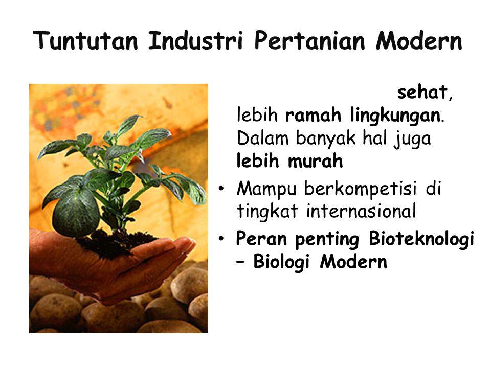 Tuntutan Industri Pertanian Modern Produk yang lebih sehat, lebih ramah lingkungan. Dalam banyak hal juga lebih murah Mampu berkompetisi di tingkat in