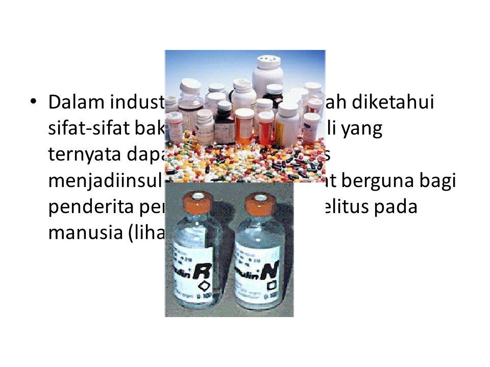 Dalam industri obat-obatan, telah diketahui sifat-sifat bakteri Escherichia coli yang ternyata dapat dibuat/disintesis menjadiinsulin; insulin ini san