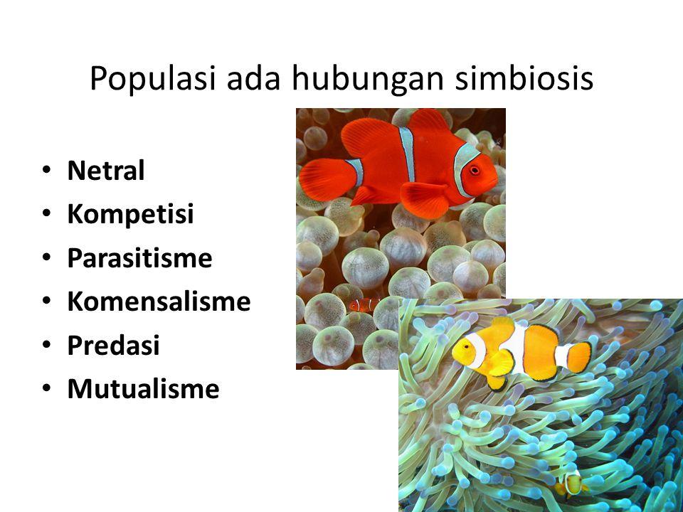 Populasi ada hubungan simbiosis Netral Kompetisi Parasitisme Komensalisme Predasi Mutualisme