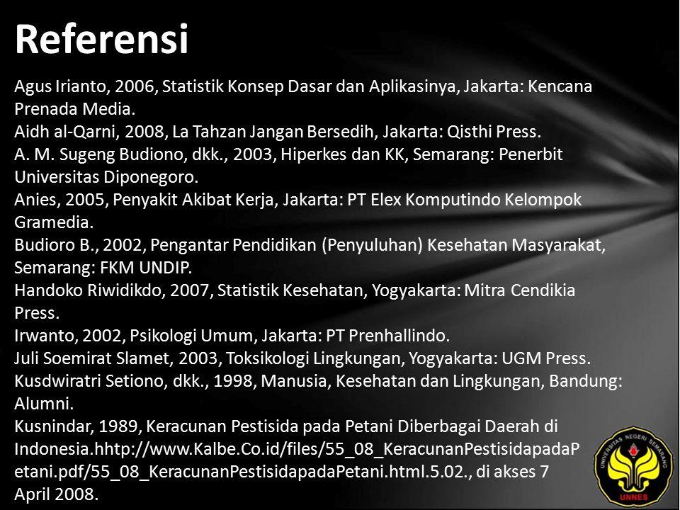 Referensi Agus Irianto, 2006, Statistik Konsep Dasar dan Aplikasinya, Jakarta: Kencana Prenada Media. Aidh al-Qarni, 2008, La Tahzan Jangan Bersedih,