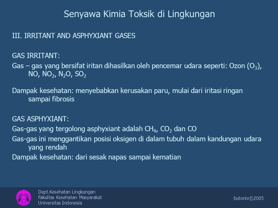 Dept.Kesehatan Lingkungan Fakultas Kesehatan Masyarakat Universitas Indonesia butoniv©2005 Senyawa Kimia Toksik di Lingkungan III. IRRITANT AND ASPHYX