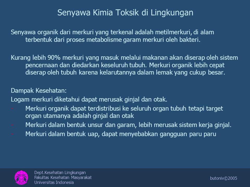 Dept.Kesehatan Lingkungan Fakultas Kesehatan Masyarakat Universitas Indonesia butoniv©2005 Senyawa Kimia Toksik di Lingkungan Senyawa organik dari mer