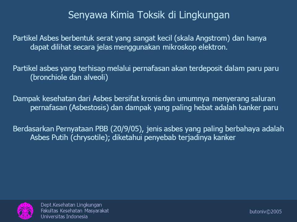 Dept.Kesehatan Lingkungan Fakultas Kesehatan Masyarakat Universitas Indonesia butoniv©2005 Senyawa Kimia Toksik di Lingkungan 2.Debu Debu merupakan partikel dengan ukuran yang bervariasi dari yang terlihat sampai yang tidak terlihat oleh mata.