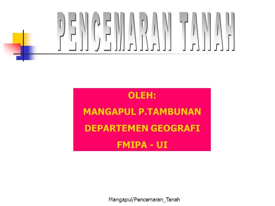 Mangapul/Pencemaran_Tanah OLEH: MANGAPUL P.TAMBUNAN DEPARTEMEN GEOGRAFI FMIPA - UI