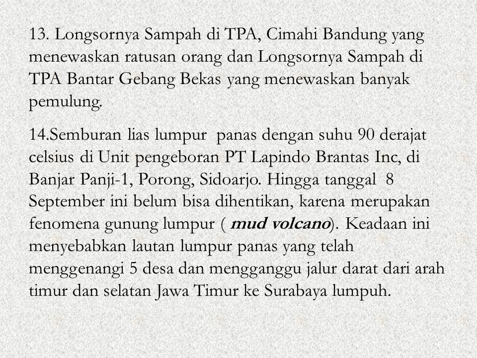 13. Longsornya Sampah di TPA, Cimahi Bandung yang menewaskan ratusan orang dan Longsornya Sampah di TPA Bantar Gebang Bekas yang menewaskan banyak pem