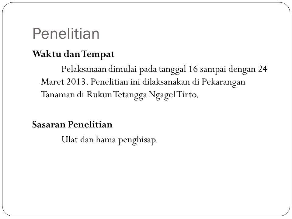 Penelitian Waktu dan Tempat Pelaksanaan dimulai pada tanggal 16 sampai dengan 24 Maret 2013. Penelitian ini dilaksanakan di Pekarangan Tanaman di Ruku