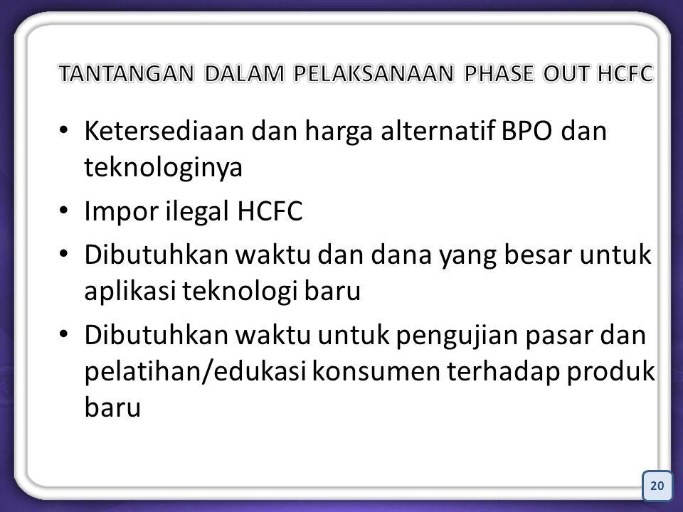 20 Ketersediaan dan harga alternatif BPO dan teknologinya Impor ilegal HCFC Dibutuhkan waktu dan dana yang besar untuk aplikasi teknologi baru Dibutuhkan waktu untuk pengujian pasar dan pelatihan/edukasi konsumen terhadap produk baru