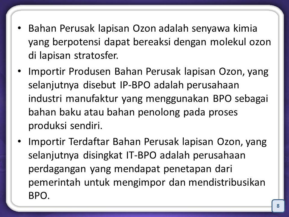 8 Bahan Perusak lapisan Ozon adalah senyawa kimia yang berpotensi dapat bereaksi dengan molekul ozon di lapisan stratosfer.