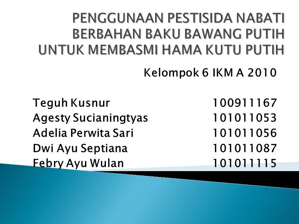 Kelompok 6 IKM A 2010 Teguh Kusnur100911167 Agesty Sucianingtyas101011053 Adelia Perwita Sari101011056 Dwi Ayu Septiana101011087 Febry Ayu Wulan101011