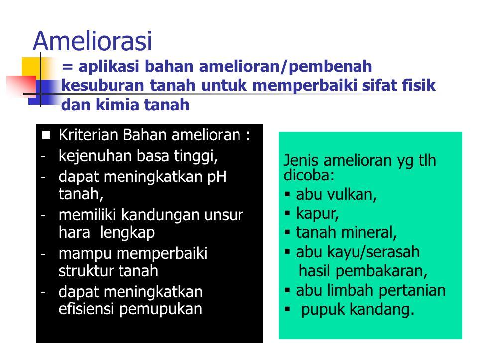 Ameliorasi = aplikasi bahan amelioran/pembenah kesuburan tanah untuk memperbaiki sifat fisik dan kimia tanah Kriterian Bahan amelioran : - kejenuhan b