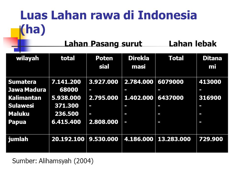 Luas Lahan rawa di Indonesia (ha) wilayahtotalPoten sial Direkla masi TotalDitana mi Sumatera Jawa Madura Kalimantan Sulawesi Maluku Papua 7.141.200 6