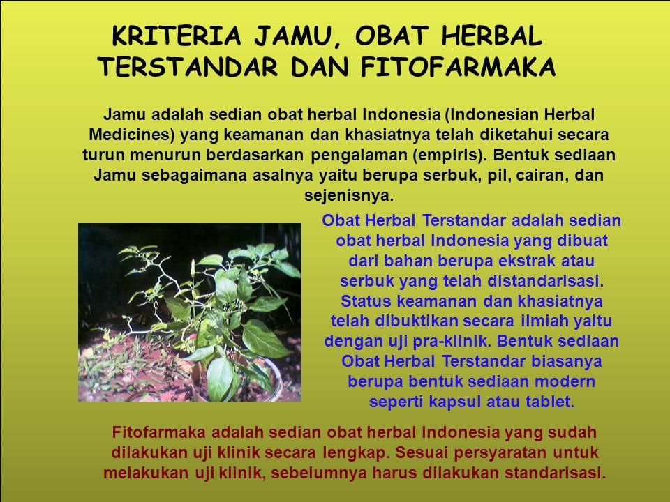 KRITERIA JAMU, OBAT HERBAL TERSTANDAR DAN FITOFARMAKA Jamu adalah sedian obat herbal Indonesia (Indonesian Herbal Medicines) yang keamanan dan khasiat
