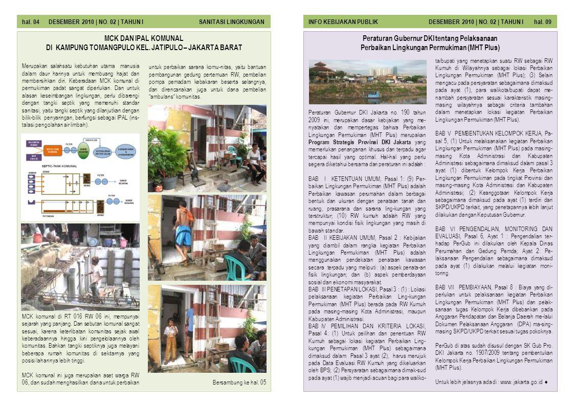 Peraturan Gubernur DKI Jakarta no. 190 tahun 2009 ini, merupakan dasar kebijakan yang me- nyatakan dan mempertegas bahwa Perbaikan Lingkungan Permukim