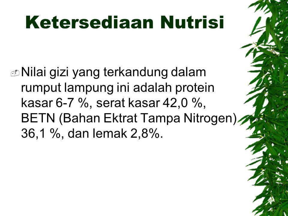 Ketersediaan Nutrisi  Nilai gizi yang terkandung dalam rumput lampung ini adalah protein kasar 6-7 %, serat kasar 42,0 %, BETN (Bahan Ektrat Tampa Ni