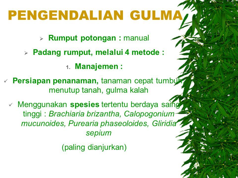 PENGENDALIAN GULMA  Rumput potongan : manual  Padang rumput, melalui 4 metode : 1. Manajemen : Persiapan penanaman, tanaman cepat tumbuh, menutup ta