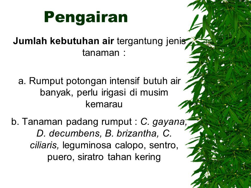 Pengairan Jumlah kebutuhan air tergantung jenis tanaman : a. Rumput potongan intensif butuh air banyak, perlu irigasi di musim kemarau b. Tanaman pada