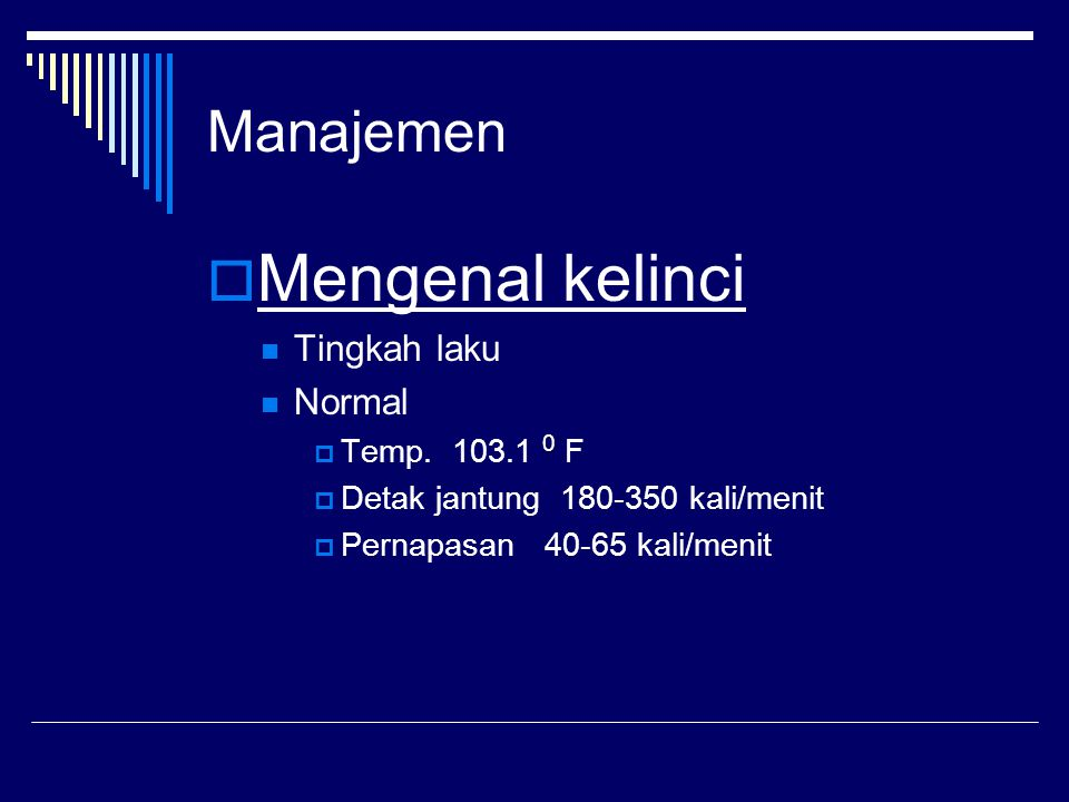 Manajemen  Mengenal kelinci Tingkah laku Normal 0  Temp.