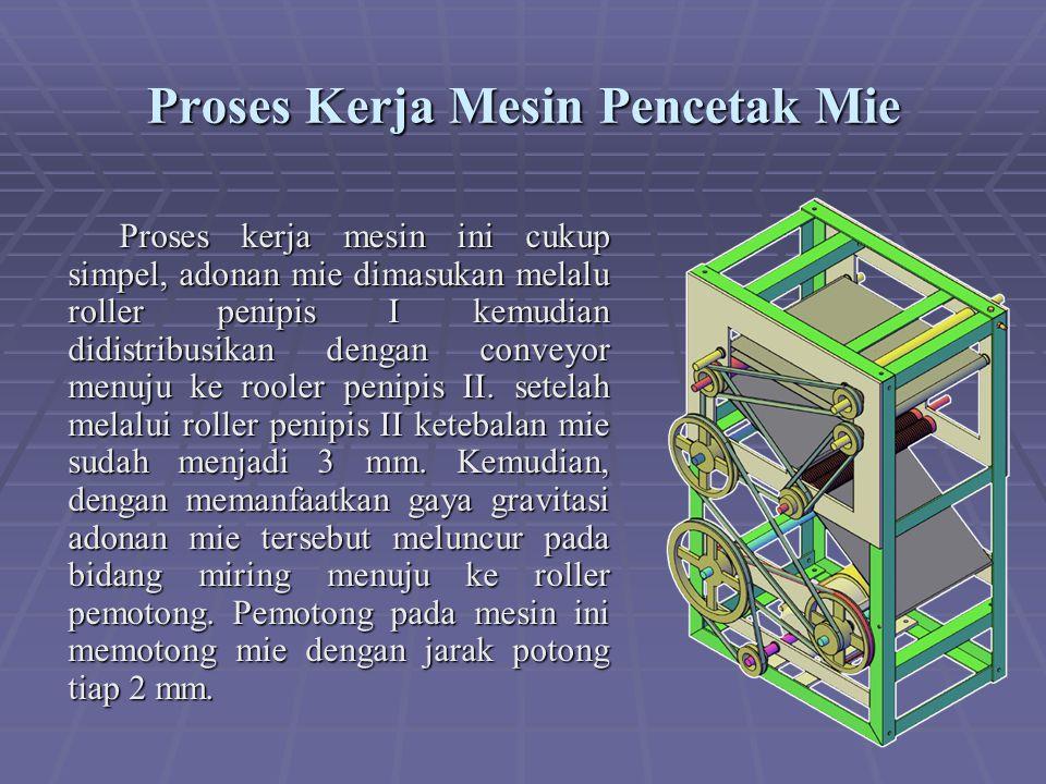 Proses Kerja Mesin Pencetak Mie Proses kerja mesin ini cukup simpel, adonan mie dimasukan melalu roller penipis I kemudian didistribusikan dengan conveyor menuju ke rooler penipis II.