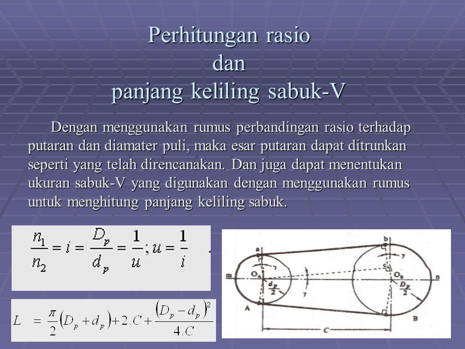 Perhitungan rasio dan panjang keliling sabuk-V Dengan menggunakan rumus perbandingan rasio terhadap putaran dan diamater puli, maka esar putaran dapat ditrunkan seperti yang telah direncanakan.