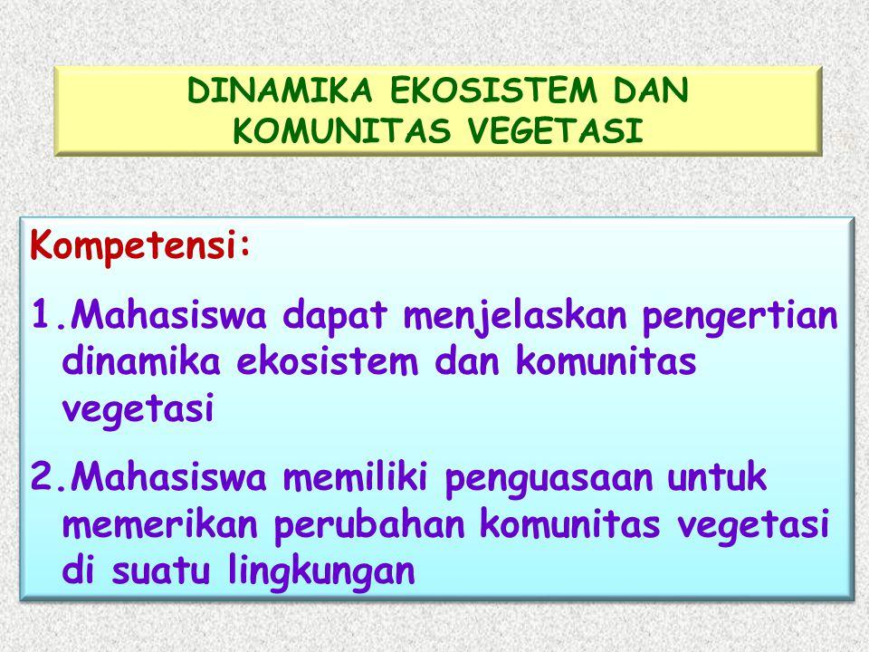 Kompetensi: 1.Mahasiswa dapat menjelaskan pengertian dinamika ekosistem dan komunitas vegetasi 2.Mahasiswa memiliki penguasaan untuk memerikan perubahan komunitas vegetasi di suatu lingkungan Kompetensi: 1.Mahasiswa dapat menjelaskan pengertian dinamika ekosistem dan komunitas vegetasi 2.Mahasiswa memiliki penguasaan untuk memerikan perubahan komunitas vegetasi di suatu lingkungan DINAMIKA EKOSISTEM DAN KOMUNITAS VEGETASI