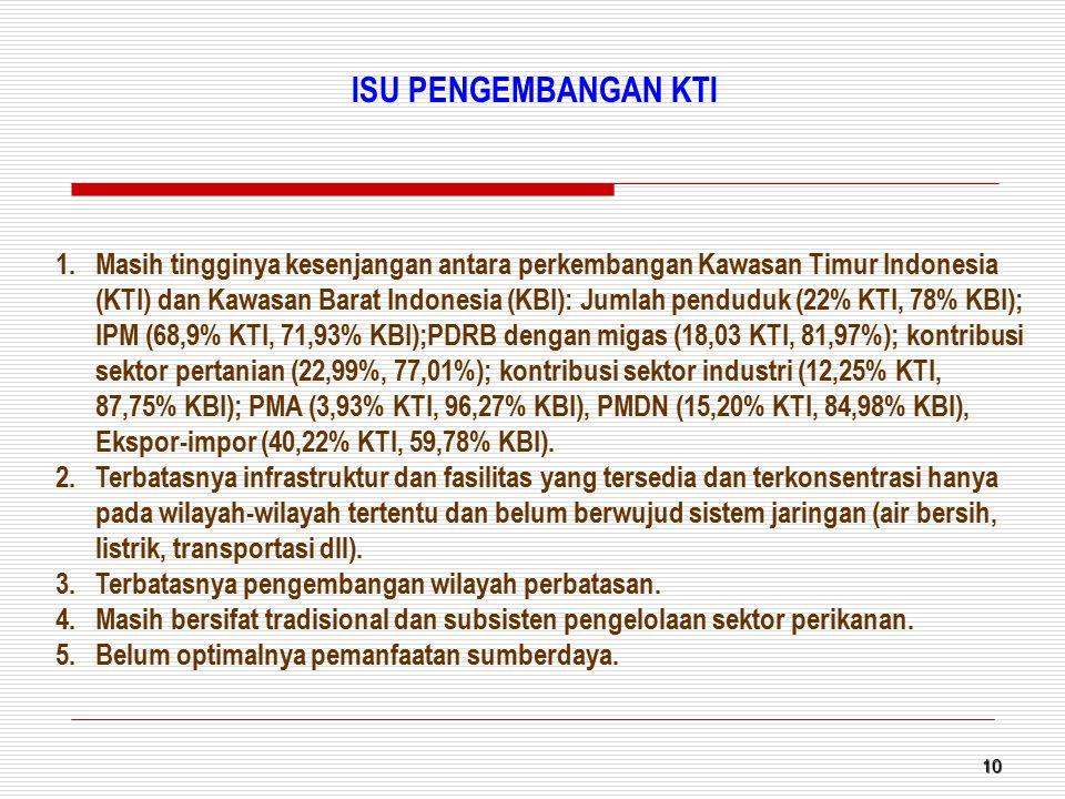 10 1.Masih tingginya kesenjangan antara perkembangan Kawasan Timur Indonesia (KTI) dan Kawasan Barat Indonesia (KBI): Jumlah penduduk (22% KTI, 78% KB