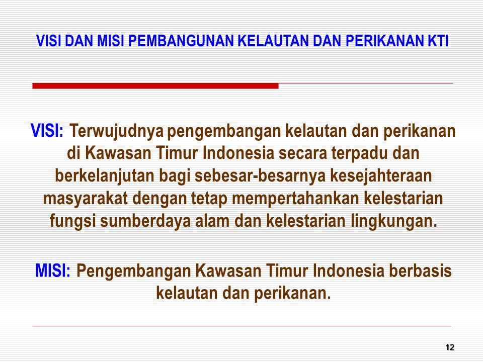 12 VISI: Terwujudnya pengembangan kelautan dan perikanan di Kawasan Timur Indonesia secara terpadu dan berkelanjutan bagi sebesar-besarnya kesejahtera
